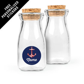 Nautical Personalized Glass Bottle with Cork (24 pack)