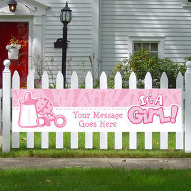 Personalized Little Spout Pink 5 Ft. Banner