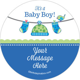 "Shower with Love Boy Personalized 2"" Stickers (20 Stickers)"