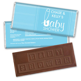 Baby Pins Personalized Embossed Chocolate Bar Assembled