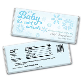 "Baby Shower Personalized Chocolate Bar ""Baby It's Cold Outside"" Snow"
