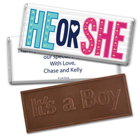 Gender Reveal Baby Shower Wonder Baby Embossed It's a Boy Chocolate Bar