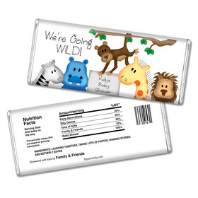 Baby Shower Personalized Chocolate Bar Going Wild Jungle Animals