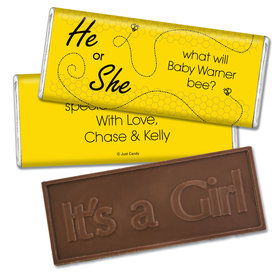 Gender Reveal Baby Shower Embossed It's a Girl Chocolate Bar Bumble Bee