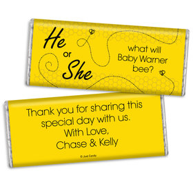 Gender Reveal Baby Shower Personalized Chocolate Bar Bumble Bee