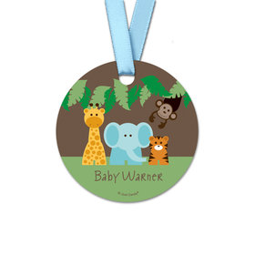 Personalized Baby Shower Jungle Safari Round Favor Gift Tags (20 Pack)