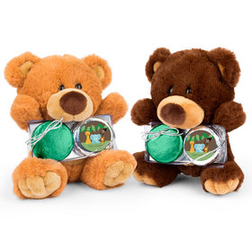 Personalized Baby Shower Jungle Buddies Teddy Bear with Chocolate Covered Oreo 2pk