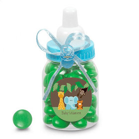 Baby Shower Personalized Blue Baby Bottle Jungle Safari Animals (24 Pack)