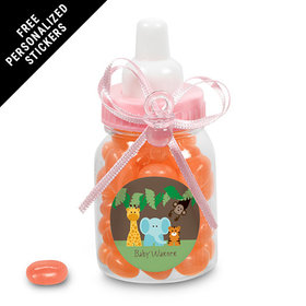 Baby Shower Personalized Pink Baby Bottle Jungle Safari Animals (24 Pack)
