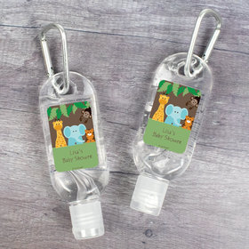 Personalized Baby Shower Jungle Buddies Hand Sanitizer with Carabiner - 1.fl. Oz.