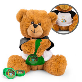 Personalized Jungle Buddies Baby Shower Teddy Bear with Chocolate Coins in XS Organza Bag