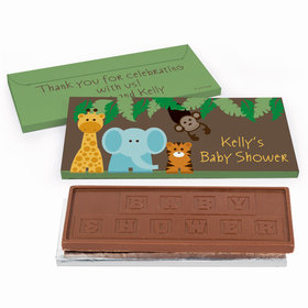 Deluxe Personalized Jungle Safari Baby Shower Chocolate Bar in Gift Box