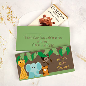 Deluxe Personalized Baby Shower Jungle Buddies Godiva Chocolate Bar in Gift Box