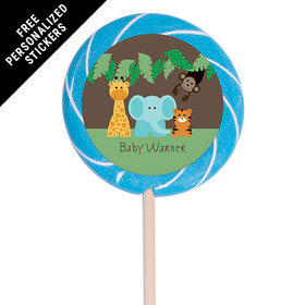 "Baby Shower Personalized 3"" Swirly Pop Jungle Safari Animals (12 Pack)"