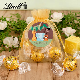Personalized Baby Shower Lindt Truffle Organza Bag- Jungle Animals