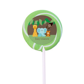 Baby Shower Personalized Small Swirly Pop Jungle Safari Animals (24 Pack)