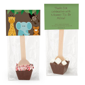 Personalized Baby Shower Jungle Animals Hot Chocolate Spoon