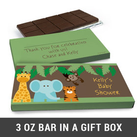 Deluxe Personalized Jungle Friends Baby Shower Belgian Chocolate Bar in Gift Box (3oz Bar)