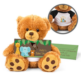 Personalized Baby Shower Jungle Buddies Teddy Bear with Embossed Chocolate Bar in Deluxe Gift Box