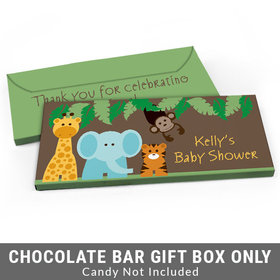 Deluxe Personalized Jungle Safari Baby Shower Candy Bar Favor Box