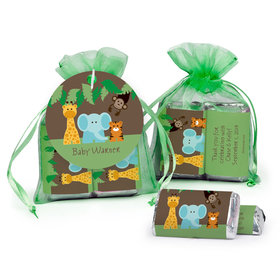 Personalized Baby Shower Jungle Buddies Hershey's Miniatures in Organza Bags with Gift Tag