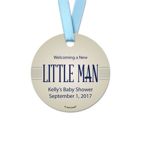 Personalized Baby Shower Little Man Round Favor Gift Tags (20 Pack)