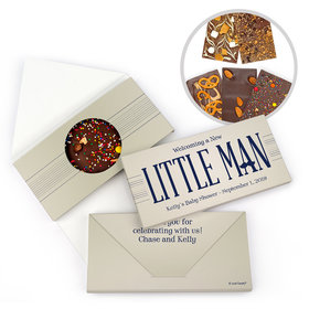 Personalized Baby Shower Little Man Gourmet Infused Belgian Chocolate Bars (3.5oz)