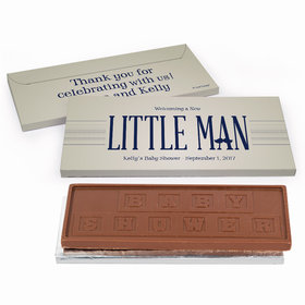Deluxe Personalized Little Man Baby Shower Chocolate Bar in Gift Box