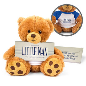 Personalized Baby Shower Little Man Teddy Bear with Embossed Chocolate Bar in Deluxe Gift Box