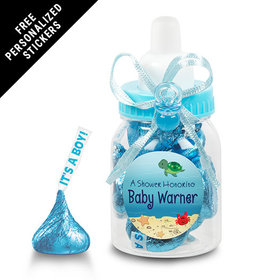 Baby Shower Personalized Blue Baby Bottle Ocean Bubbles (24 Pack)