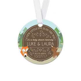 Personalized Forest Animals Baby Shower Round Favor Gift Tags (20 Pack)