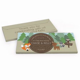 Deluxe Personalized Forest Friends Baby Shower Chocolate Bar in Gift Box