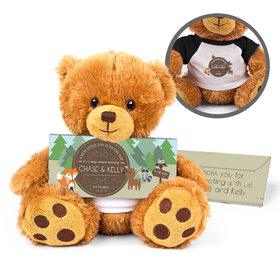 Personalized Baby Shower Woodland Friends Teddy Bear with Embossed Chocolate Bar in Deluxe Gift Box