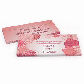 Deluxe Personalized Pink Flowers Baby Shower Chocolate Bar in Gift Box