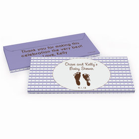 Deluxe Personalized Footprints Baby Shower Chocolate Bar in Gift Box