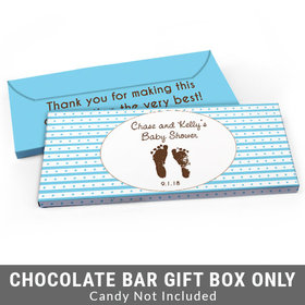 Deluxe Personalized Footprints Baby Shower Candy Bar Favor Box