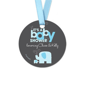 Personalized Baby Elephant Baby Shower Round Favor Gift Tags (20 Pack)