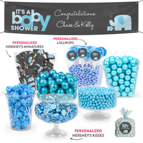 Personalized Baby Shower Blue Elephant Deluxe Candy Buffet