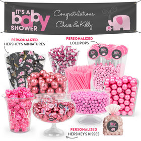 Personalized Baby Shower Pink Elephant Deluxe Candy Buffet
