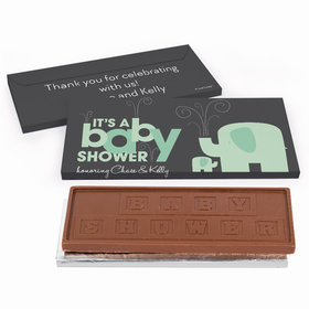 Deluxe Personalized Elephant Baby Shower Chocolate Bar in Gift Box