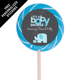 "Baby Shower Personalized 3"" Swirly Pop Elephant (12 Pack)"