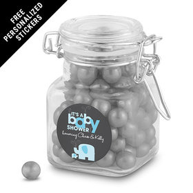 Baby Shower Personalized Latch Jar Elephant (12 Pack)