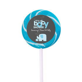 Baby Shower Personalized Small Swirly Pop Elephant (24 Pack)