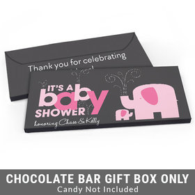Deluxe Personalized Elephant Baby Shower Candy Bar Favor Box