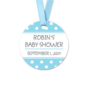 Personalized Polka Dots Baby Shower Round Favor Gift Tags (20 Pack)