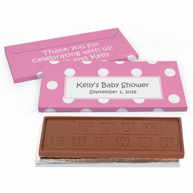 Deluxe Personalized Polka Dots Baby Shower Chocolate Bar in Gift Box