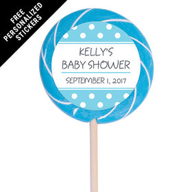 "Baby Shower Personalized 3"" Swirly Pop Polka Dot (12 Pack)"