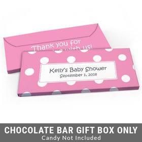 Deluxe Personalized Polka Dots Baby Shower Candy Bar Favor Box