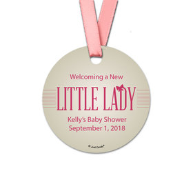 Personalized Baby Shower Little Lady Round Favor Gift Tags (20 Pack)