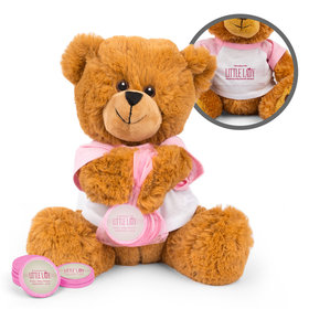 Personalized Little Lady Baby Shower Teddy Bear with Chocolate Coins in XS Organza Bag